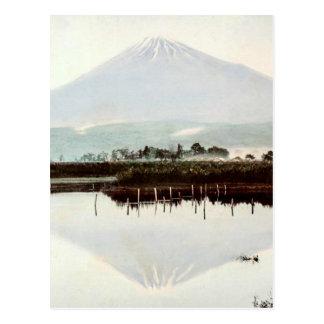 Reflections of Mt. Fuji in Old Japan Vintage Lake Postcard