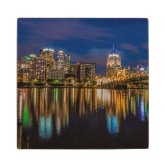 Reflections of Pittsburgh Wood Coaster
