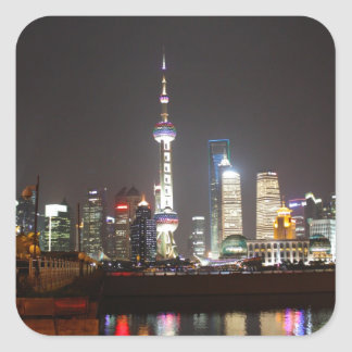 Reflections of Shanghai at Night Square Sticker