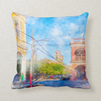 Reflections On Colorful Granada - Nicaragua Pillows