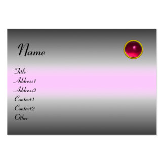 REFLECTIONS RUBY MONOGRAM, grey white pink Large Business Cards (Pack Of 100)
