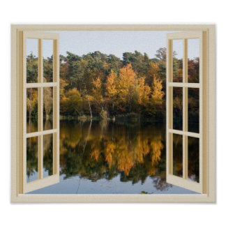 Reflective Autumn Lake Faux Window View Poster