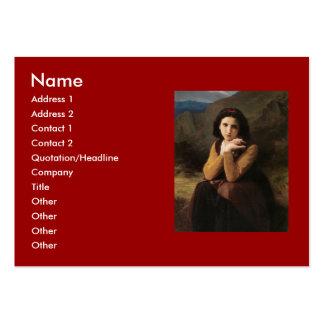 Reflective Beauty (Mignon Pensive) 1869 Bouguereau Large Business Cards (Pack Of 100)