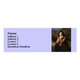 Reflective Beauty (Mignon Pensive) 1869 Bouguereau Double-Sided Mini Business Cards (Pack Of 20)