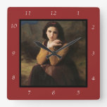 Reflective Beauty (Mignon Pensive) 1869 Bouguereau Square Wall Clock