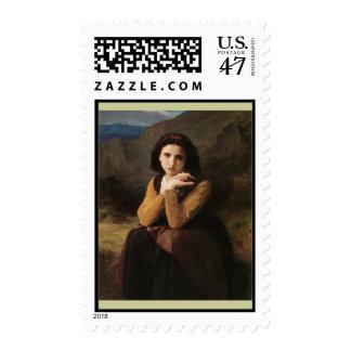 Reflective Beauty (Mignon Pensive) 1869 Bouguereau Postage