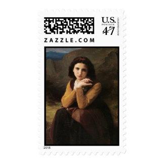 Reflective Beauty (Mignon Pensive) 1869 Bouguereau Postage Stamp