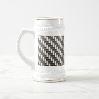 Reflective Carbon Fiber Textured Beer Stein
