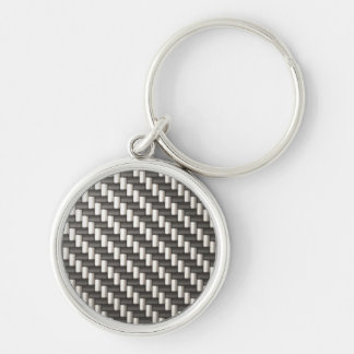 Reflective Carbon Fiber Textured Silver-Colored Round Keychain