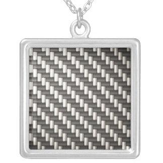 Reflective Carbon Fiber Textured Square Pendant Necklace