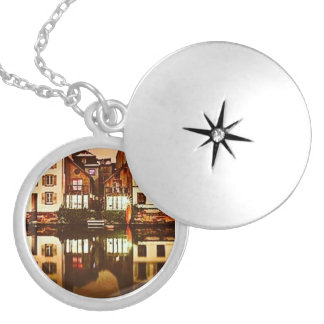Reflective City Silver Plated Locket