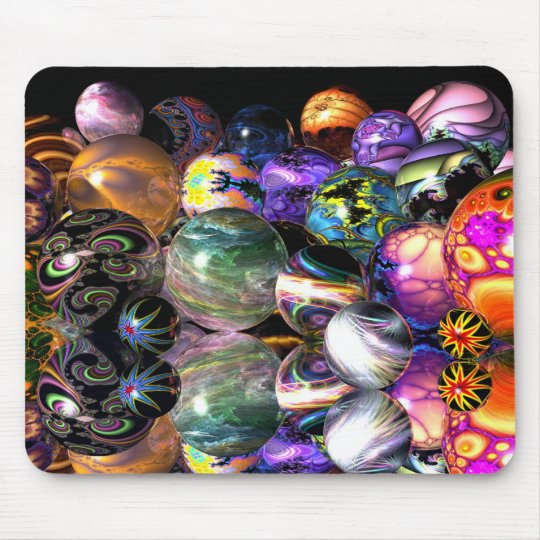 Reflective Fractal Spheres Mouse Pad