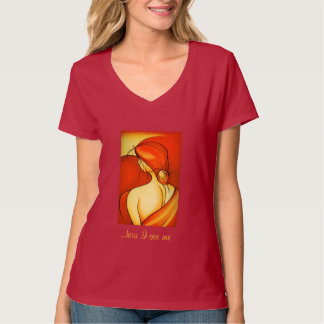 Reflective Lady In Orange Tee Shirt