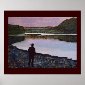 Reflejando en el río Missouri, fuerte Benton, Mt. Póster