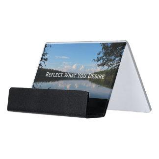 Refleje lo que usted desea el depósito del cuervo caja de tarjetas de visita para escritorio