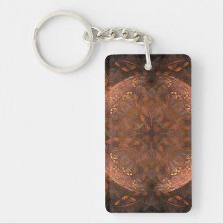 Reflejo de cobre de oro llavero rectangular acrílico a una cara