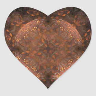 Reflejo de cobre de oro pegatina en forma de corazón