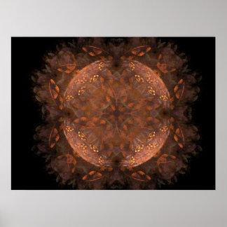 Reflejo de cobre de oro póster