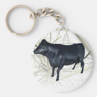 Reflejo de la vaca llavero redondo tipo pin