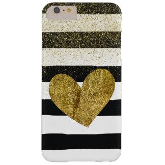 Reflejo del brillo del corazón del oro de las funda barely there iPhone 6 plus