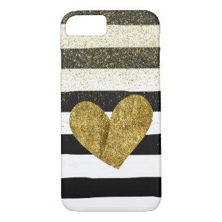 Reflejo del brillo del corazón del oro de las funda iPhone 7