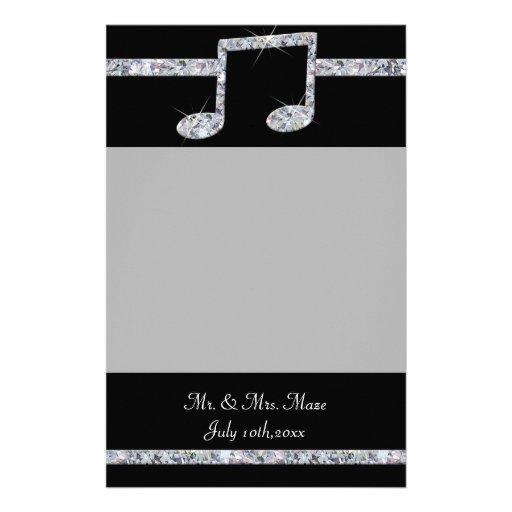 Reflejo del diamante de los amantes de la música papeleria personalizada