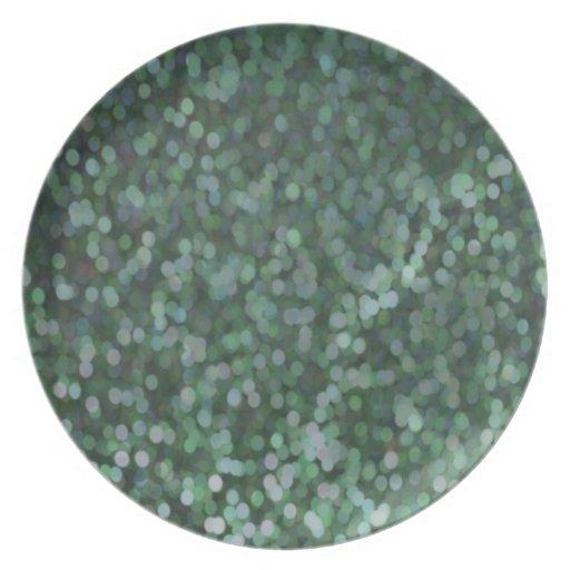 Reflejo pintado aguamarina del brillo platos de comidas