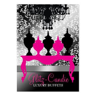 Reflejo rosado del negro de la tabla de 311 tarjetas de visita grandes