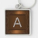 Reflejo y chispa de cobre con el monograma llaveros personalizados