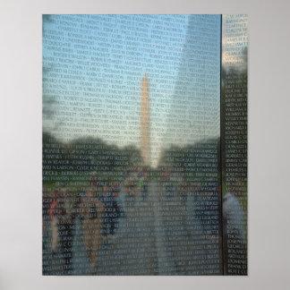 Reflexión 11x14 del monumento de Washington Póster