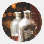 Reflexión antigua de la botella pegatina redonda