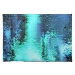 Reflexión azul abstracta mantel individual