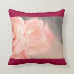 Reflexión color de rosa rosa clara en plata almohadas