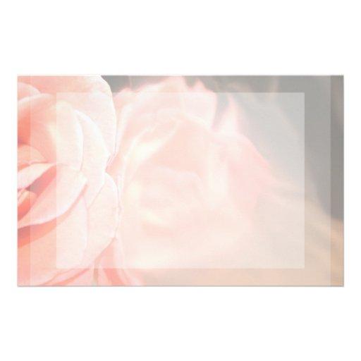 Reflexión color de rosa rosa clara en plata papelería personalizada
