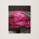 Reflexión color de rosa rosada descolorada puzzle con fotos