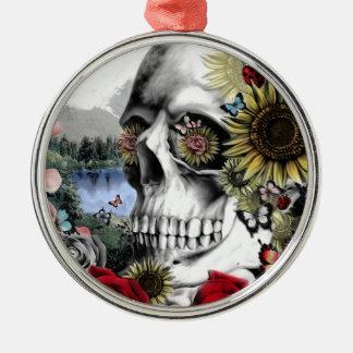 Reflexión, cráneo del paisaje adorno de navidad