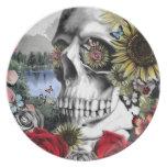 Reflexión, cráneo del paisaje plato de cena