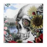 Reflexión. Cráneo floral del paisaje Tejas Ceramicas