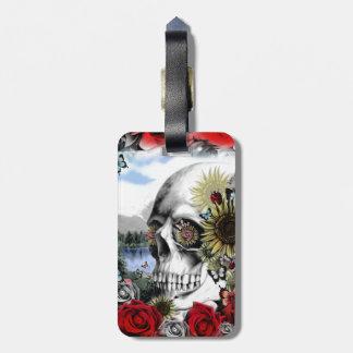 Reflexión Cráneo floral del paisaje Etiquetas Bolsa