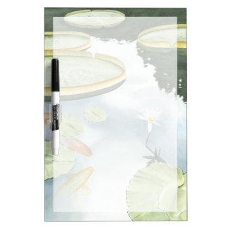 Reflexión de la charca de Koi con los pescados y Tablero Blanco