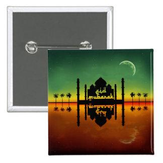 Reflexión de la noche de Eid Mubarak - botón Pin Cuadrado
