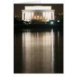 Reflexión de la noche del Lincoln memorial Tarjeta De Felicitación