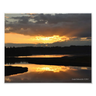 reflexión de la puesta del sol 8X10 Fotos