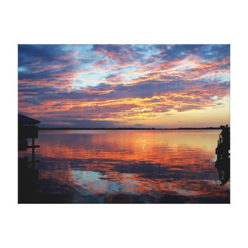 Reflexión de la puesta del sol de la Florida sobre Lona Estirada Galerías