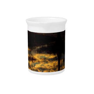 Reflexión de la puesta del sol del pantano jarras de beber