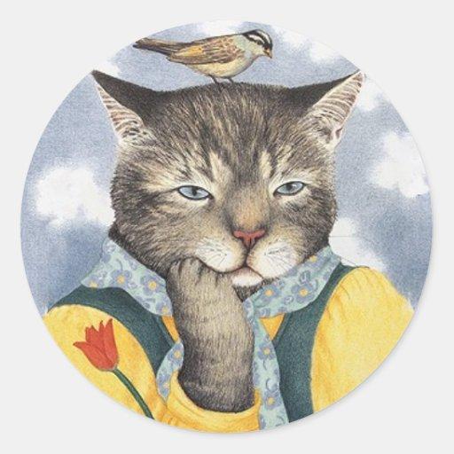 Reflexión de los pegatinas del gato etiquetas redondas