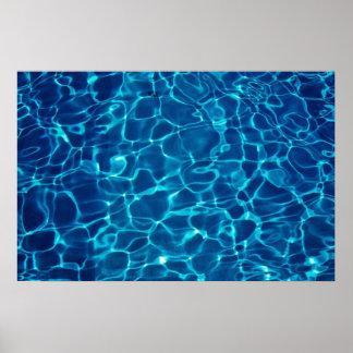 Reflexión del agua en la piscina, abstracta poster