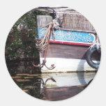 reflexión del barco pegatina redonda