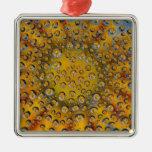 Reflexión del descenso de rocío de la flor, ciudad ornamentos de navidad