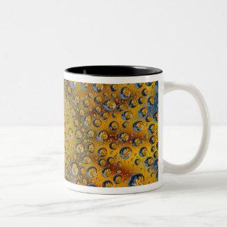 Reflexión del descenso de rocío de la flor ciudad taza de café